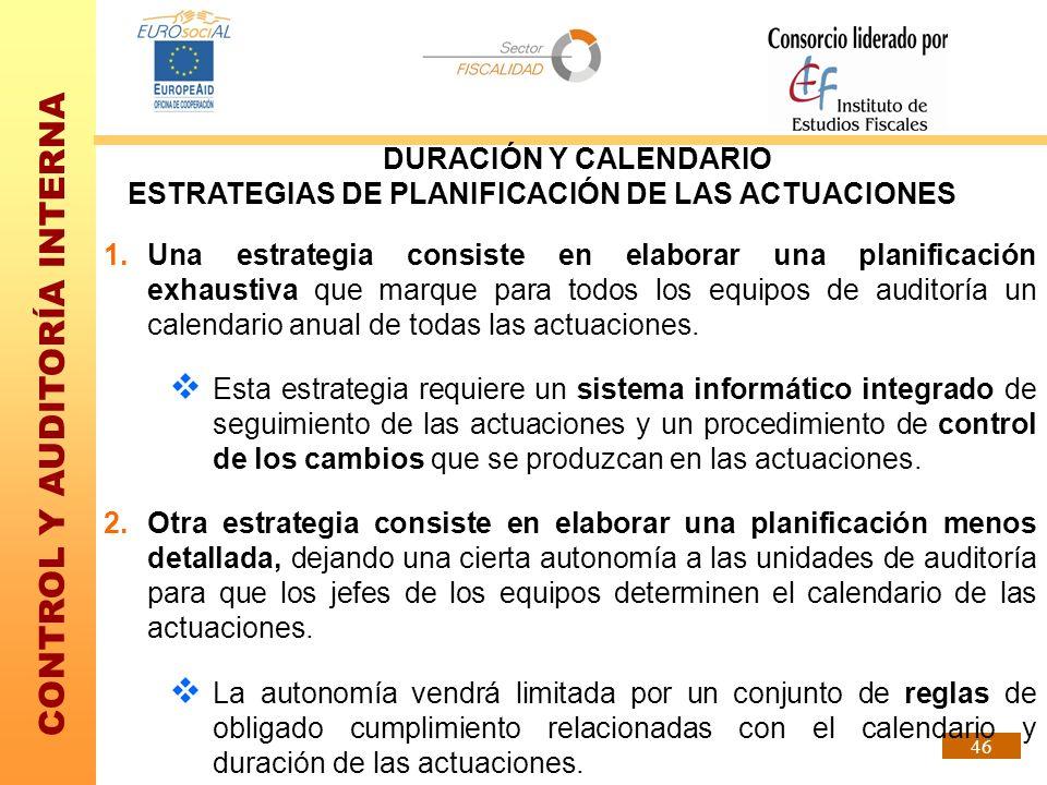 CONTROL Y AUDITORÍA INTERNA 46 DURACIÓN Y CALENDARIO ESTRATEGIAS DE PLANIFICACIÓN DE LAS ACTUACIONES 1.Una estrategia consiste en elaborar una planifi