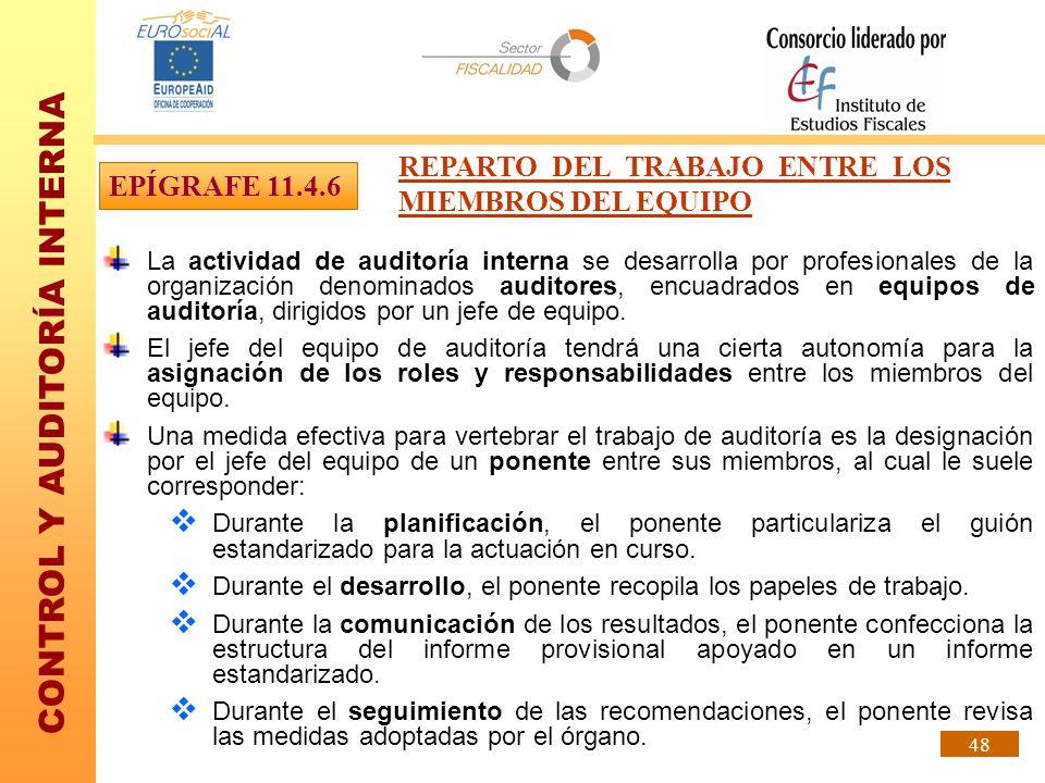 CONTROL Y AUDITORÍA INTERNA 48 La actividad de auditoría interna se desarrolla por profesionales de la organización denominados auditores, encuadrados
