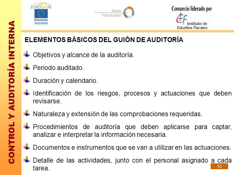 CONTROL Y AUDITORÍA INTERNA 50 ELEMENTOS BÁSICOS DEL GUIÓN DE AUDITORÍA Objetivos y alcance de la auditoría. Periodo auditado. Duración y calendario.