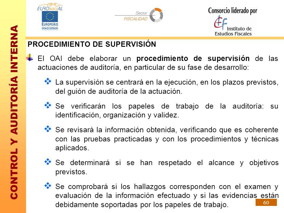 CONTROL Y AUDITORÍA INTERNA 60 El OAI debe elaborar un procedimiento de supervisión de las actuaciones de auditoría, en particular de su fase de desar