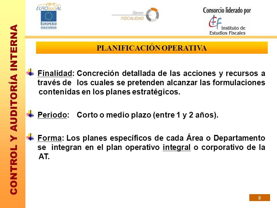 CONTROL Y AUDITORÍA INTERNA 8 PLANIFICACIÓN OPERATIVA Finalidad:Concreción detallada de las acciones y recursos a través de los cuales se pretenden al