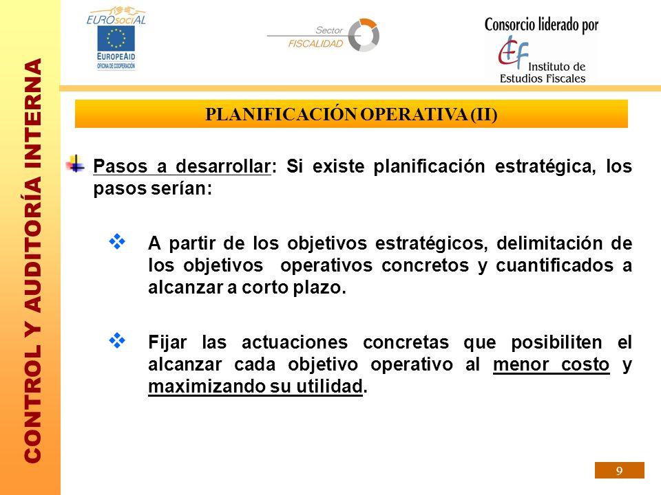 CONTROL Y AUDITORÍA INTERNA 9 PLANIFICACIÓN OPERATIVA (II) Pasos a desarrollar: Si existe planificación estratégica, los pasos serían: A partir de los