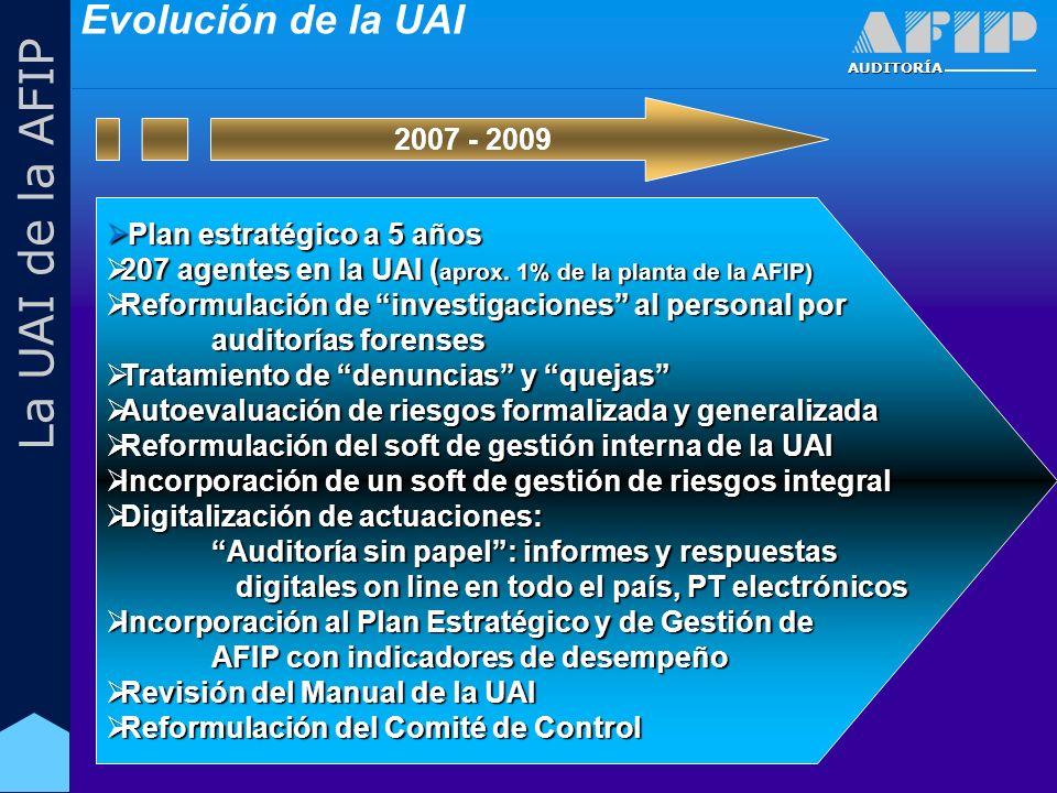 AUDITORÍA La UAI de la AFIP Plan estratégico a 5 años Plan estratégico a 5 años 207 agentes en la UAI ( aprox.