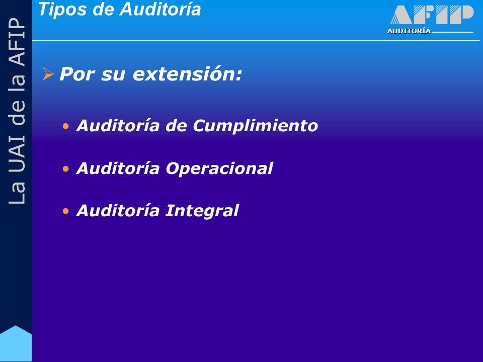 AUDITORÍA La UAI de la AFIP Tipos de Auditoría Por su extensión: Auditoría de Cumplimiento Auditoría Operacional Auditoría Integral