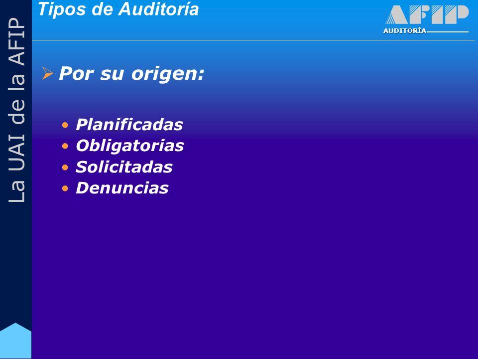 AUDITORÍA La UAI de la AFIP Tipos de Auditoría Por su origen: Planificadas Obligatorias Solicitadas Denuncias