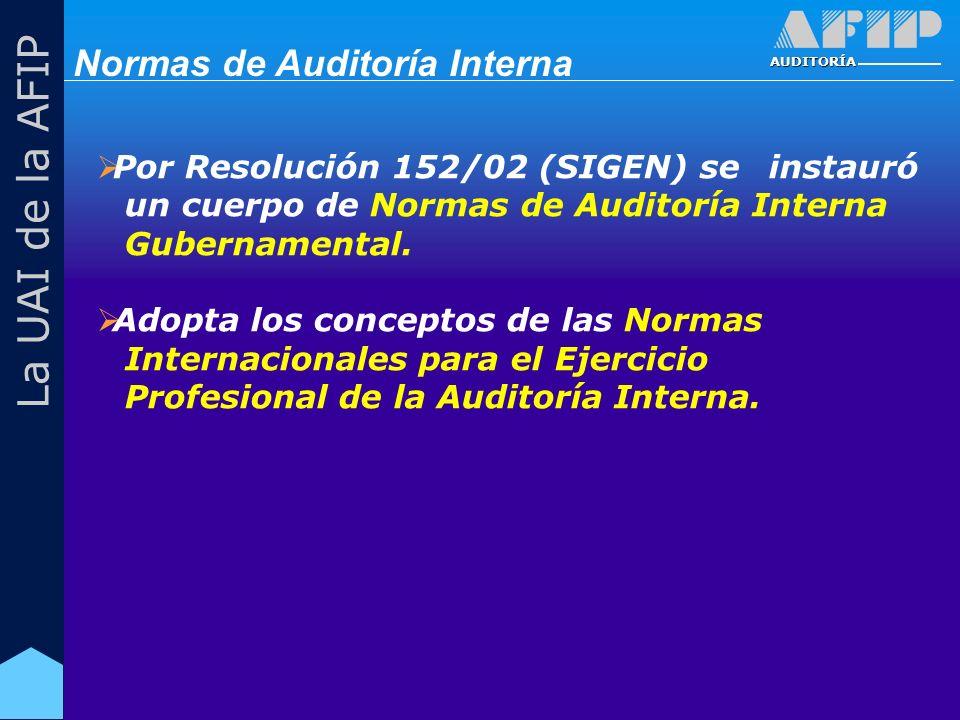 AUDITORÍA La UAI de la AFIP Por Resolución 152/02 (SIGEN) se instauró un cuerpo de Normas de Auditoría Interna Gubernamental.