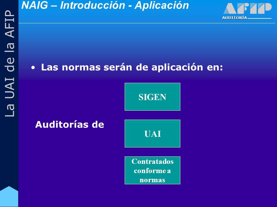 AUDITORÍA La UAI de la AFIP Las normas serán de aplicación en: SIGEN UAI Contratados conforme a normas Auditorías de NAIG – Introducción - Aplicación