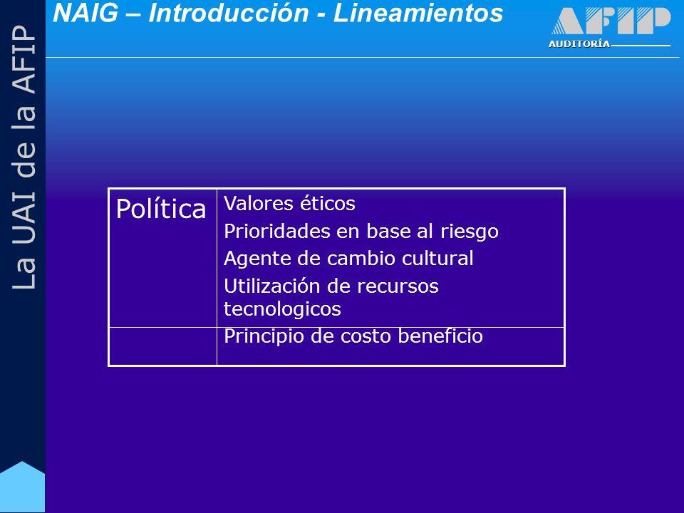 AUDITORÍA La UAI de la AFIP Valores éticos Prioridades en base al riesgo Agente de cambio cultural Utilización de recursos tecnologicos Principio de costo beneficio Política NAIG – Introducción - Lineamientos