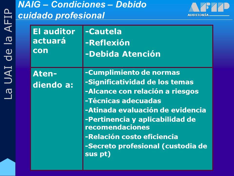 AUDITORÍA La UAI de la AFIP -Cumplimiento de normas -Significatividad de los temas -Alcance con relación a riesgos -Técnicas adecuadas -Atinada evaluación de evidencia -Pertinencia y aplicabilidad de recomendaciones -Relación costo eficiencia -Secreto profesional (custodia de sus pt) Aten- diendo a: -Cautela -Reflexión -Debida Atención El auditor actuará con NAIG – Condiciones – Debido cuidado profesional