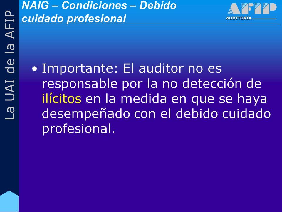 AUDITORÍA La UAI de la AFIP Importante: El auditor no es responsable por la no detección de ilícitos en la medida en que se haya desempeñado con el debido cuidado profesional.