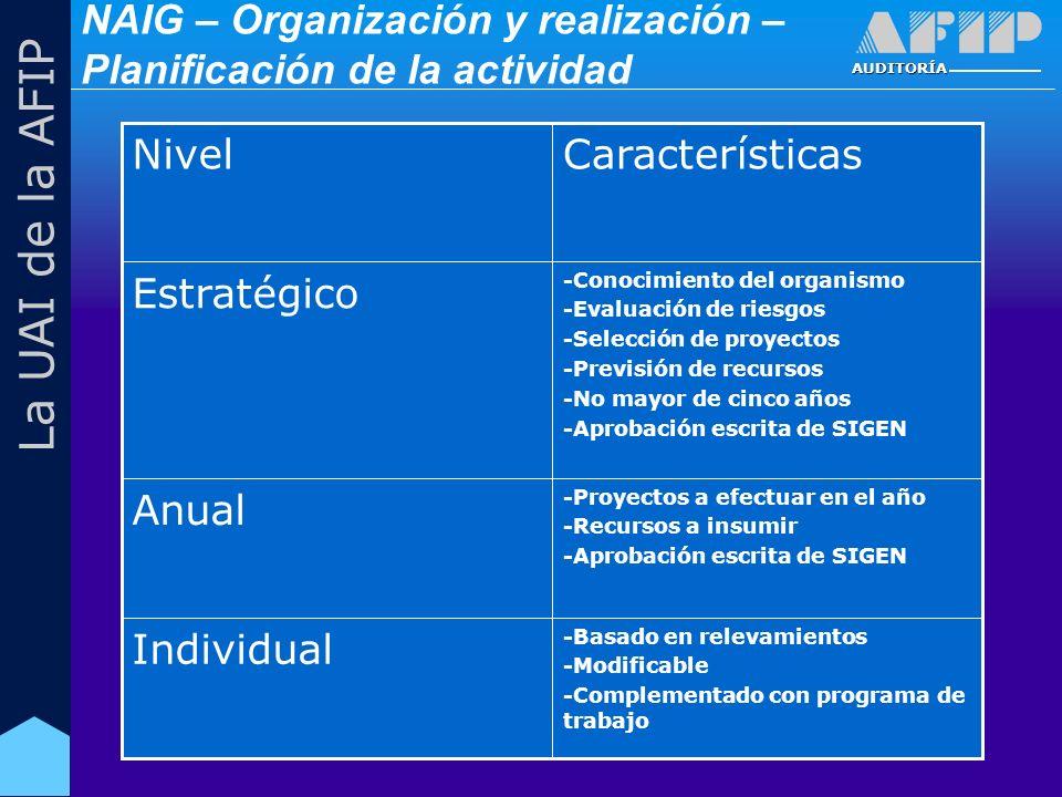 AUDITORÍA La UAI de la AFIP -Basado en relevamientos -Modificable -Complementado con programa de trabajo Individual -Proyectos a efectuar en el año -Recursos a insumir -Aprobación escrita de SIGEN Anual -Conocimiento del organismo -Evaluación de riesgos -Selección de proyectos -Previsión de recursos -No mayor de cinco años -Aprobación escrita de SIGEN Estratégico CaracterísticasNivel NAIG – Organización y realización – Planificación de la actividad