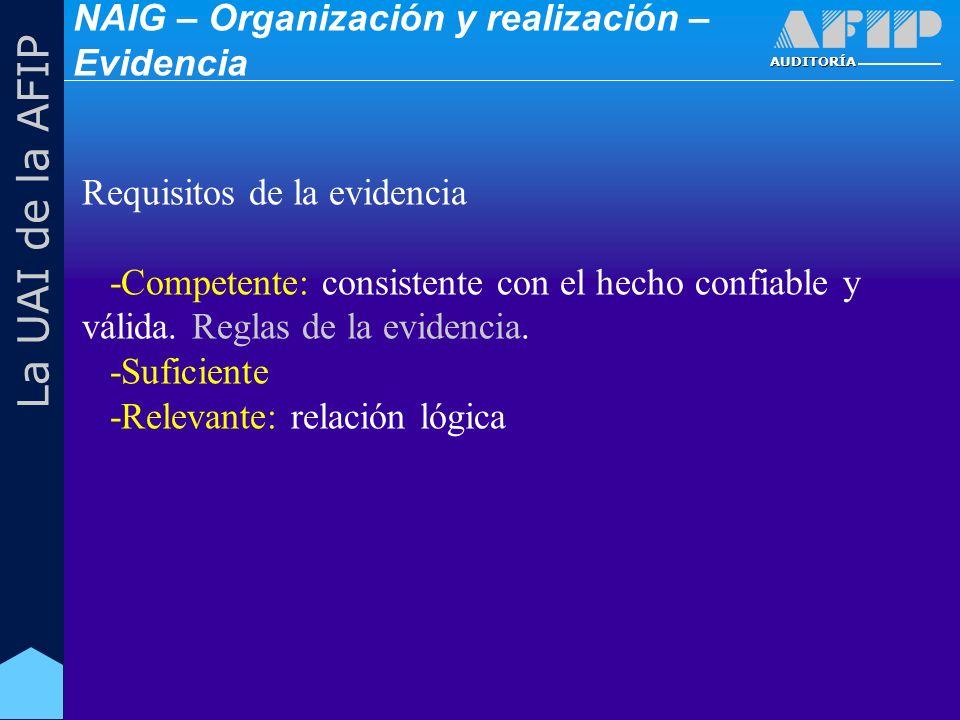 AUDITORÍA La UAI de la AFIP Requisitos de la evidencia -Competente: consistente con el hecho confiable y válida.