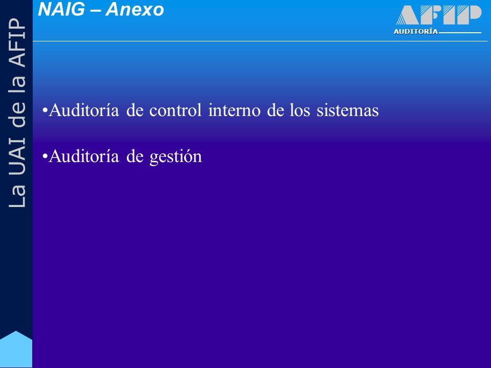 AUDITORÍA La UAI de la AFIP Auditoría de control interno de los sistemas Auditoría de gestión NAIG – Anexo