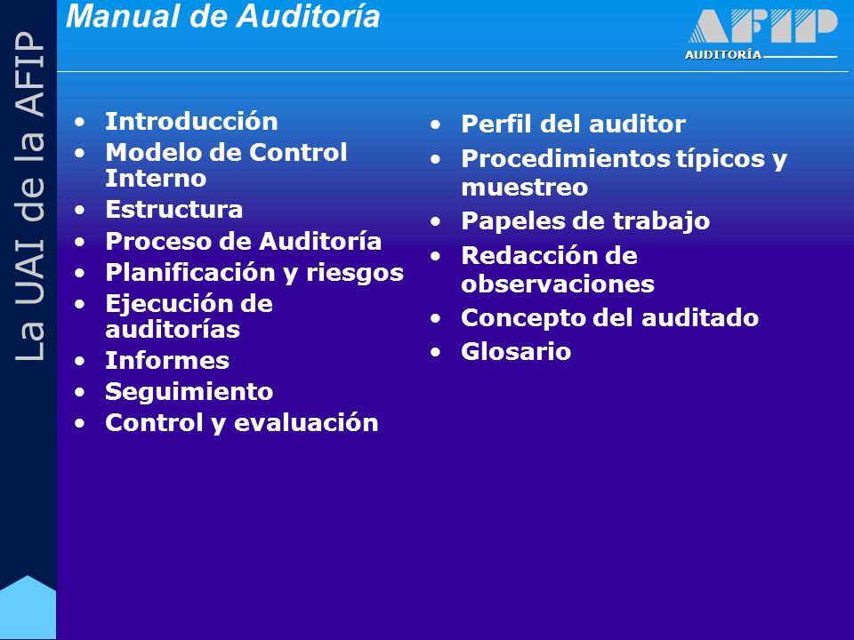AUDITORÍA La UAI de la AFIP Manual de Auditoría Introducción Modelo de Control Interno Estructura Proceso de Auditoría Planificación y riesgos Ejecución de auditorías Informes Seguimiento Control y evaluación Perfil del auditor Procedimientos típicos y muestreo Papeles de trabajo Redacción de observaciones Concepto del auditado Glosario