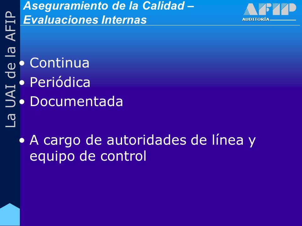 AUDITORÍA La UAI de la AFIP Aseguramiento de la Calidad – Evaluaciones Internas Continua Periódica Documentada A cargo de autoridades de línea y equipo de control
