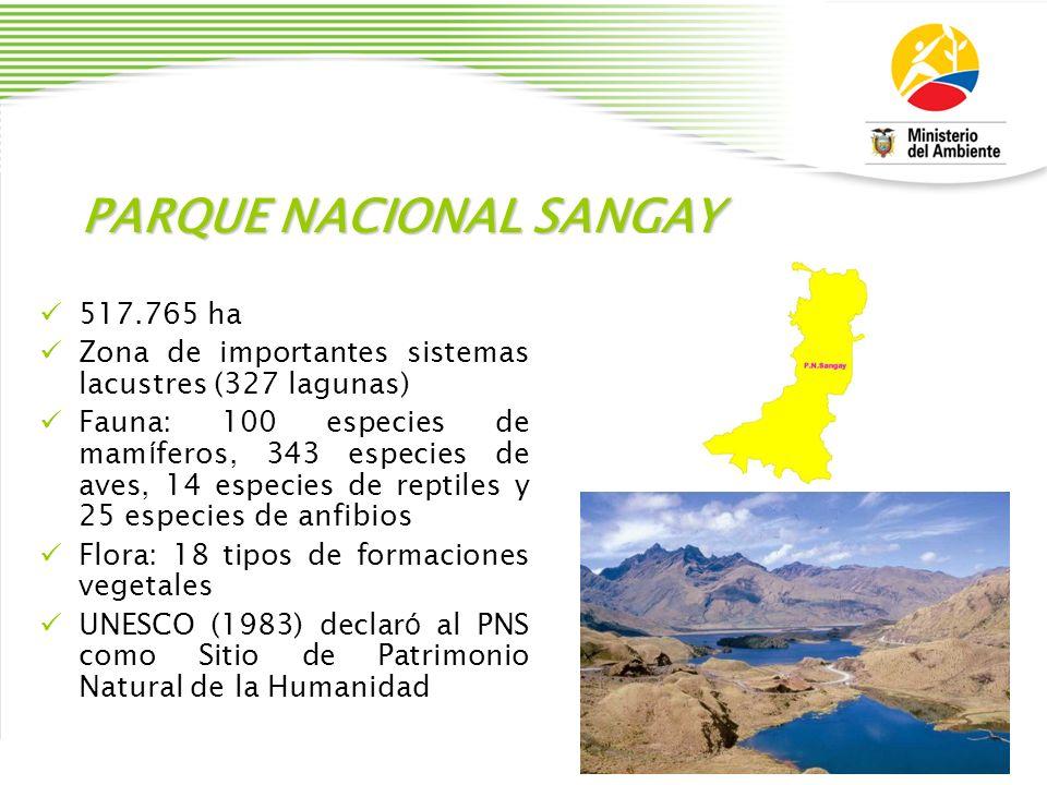 PARQUE NACIONAL SANGAY 517.765 ha Zona de importantes sistemas lacustres (327 lagunas) Fauna: 100 especies de mam í feros, 343 especies de aves, 14 es