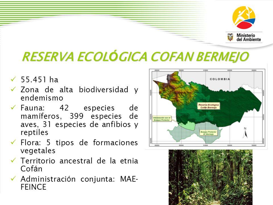 RESERVA ECOL Ó GICA COFAN BERMEJO 55.451 ha Zona de alta biodiversidad y endemismo Fauna: 42 especies de mam í feros, 399 especies de aves, 31 especie