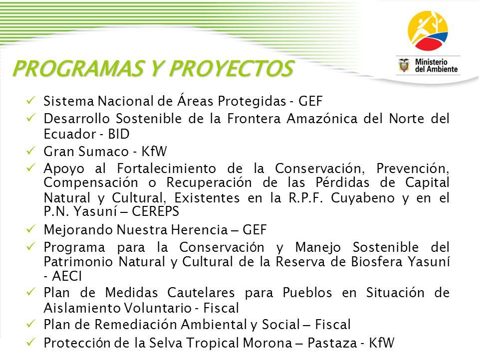 PROGRAMAS Y PROYECTOS Sistema Nacional de Á reas Protegidas - GEF Desarrollo Sostenible de la Frontera Amaz ó nica del Norte del Ecuador - BID Gran Su