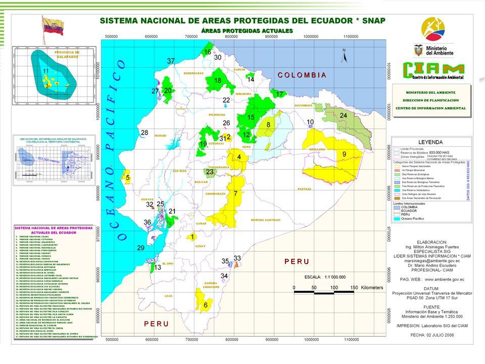 PARQUE NACIONAL PODOCARPUS 146.280 ha Fauna: 46 especies de mam í feros, 560 especies de aves Flora: 5 tipos de formaciones vegetales Atractivos tur í sticos: Valles de Vilcabamba, de Yangana, de Quinara, Lagunas de El Compadre Reservas Mineras Aur í feras