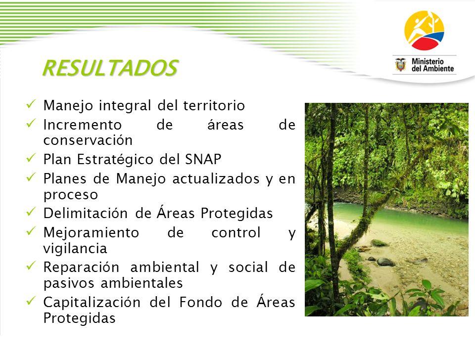 RESULTADOS Manejo integral del territorio Incremento de á reas de conservaci ó n Plan Estrat é gico del SNAP Planes de Manejo actualizados y en proces