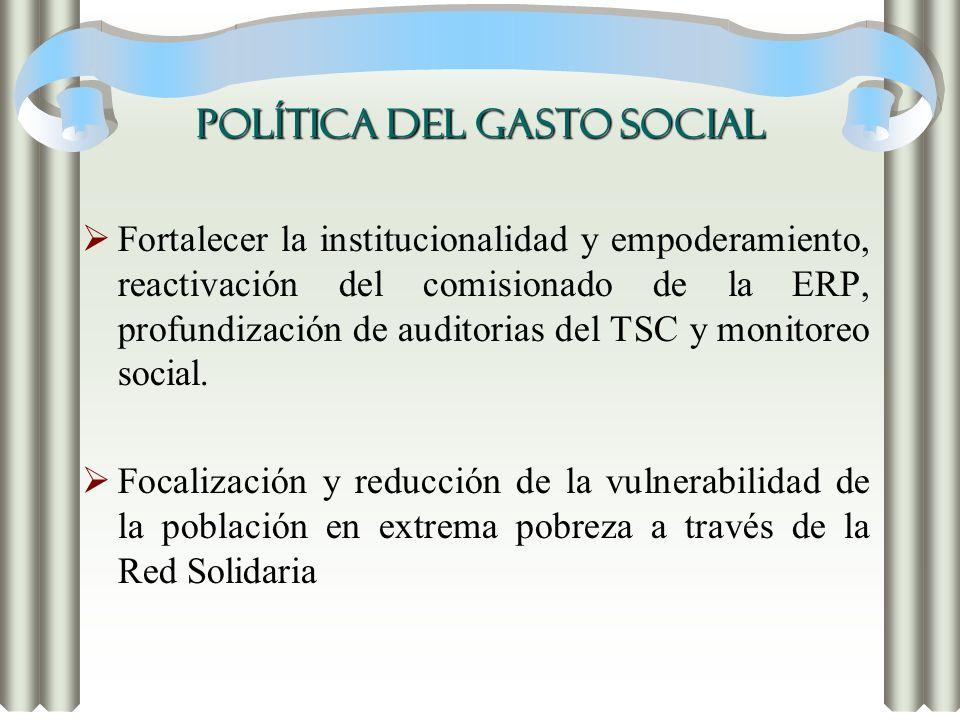 POLÍTICA DEL GASTO SOCIAL Fortalecer la institucionalidad y empoderamiento, reactivación del comisionado de la ERP, profundización de auditorias del T
