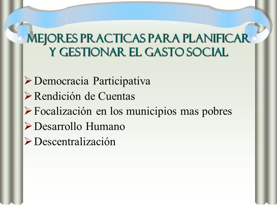 MEJORES PRACTICAS PARA PLANIFICAR Y GESTIONAR EL GASTO SOCIAL Democracia Participativa Rendición de Cuentas Focalización en los municipios mas pobres