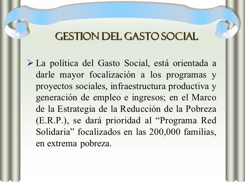 GESTION DEL GASTO SOCIAL La política del Gasto Social, está orientada a darle mayor focalización a los programas y proyectos sociales, infraestructura