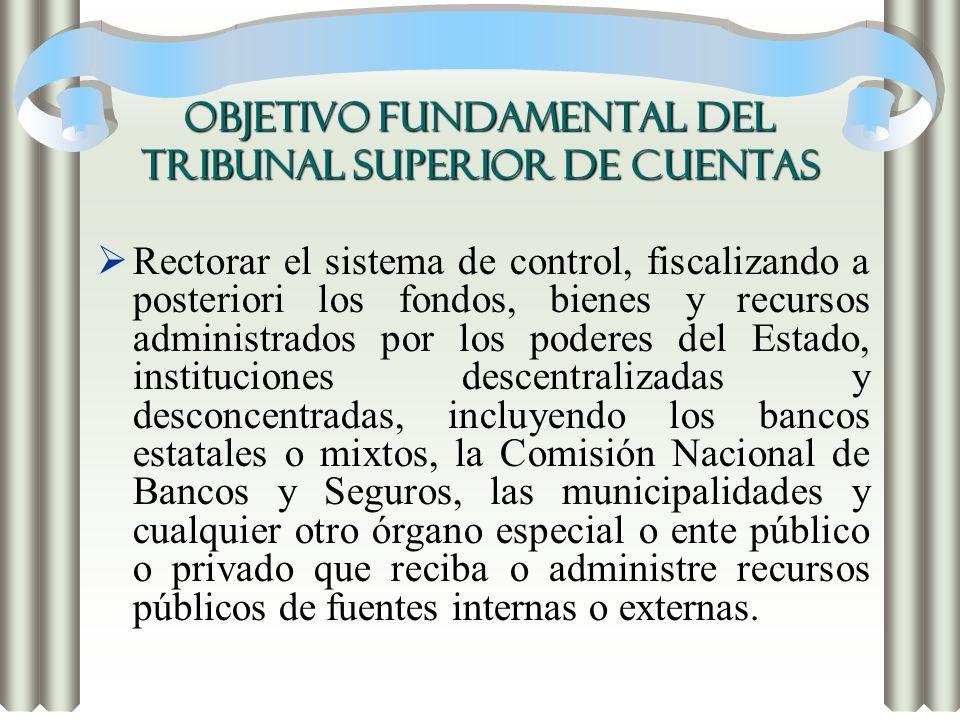 OBJETIVO FUNDAMENTAL DEL TRIBUNAL SUPERIOR DE CUENTAS Rectorar el sistema de control, fiscalizando a posteriori los fondos, bienes y recursos administ