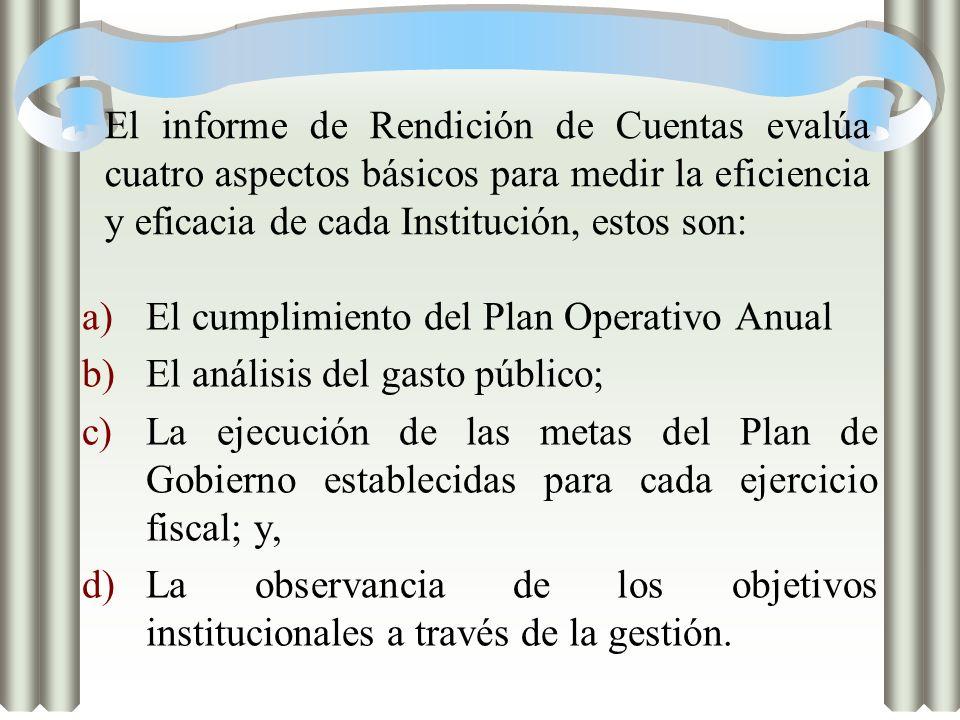 El informe de Rendición de Cuentas evalúa cuatro aspectos básicos para medir la eficiencia y eficacia de cada Institución, estos son: a)El cumplimient