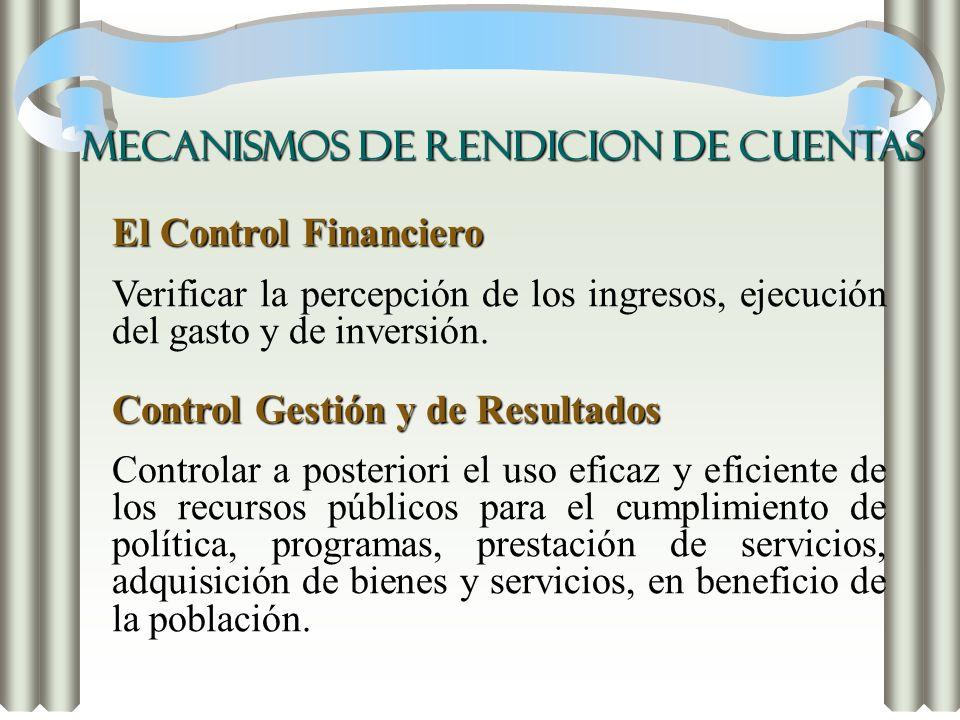 El Control Financiero Verificar la percepción de los ingresos, ejecución del gasto y de inversión. Control Gestión y de Resultados Controlar a posteri