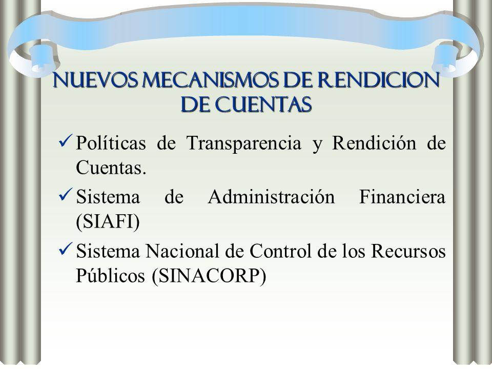 NUEVOS MECANISMOS DE RENDICION DE CUENTAS Políticas de Transparencia y Rendición de Cuentas. Sistema de Administración Financiera (SIAFI) Sistema Naci
