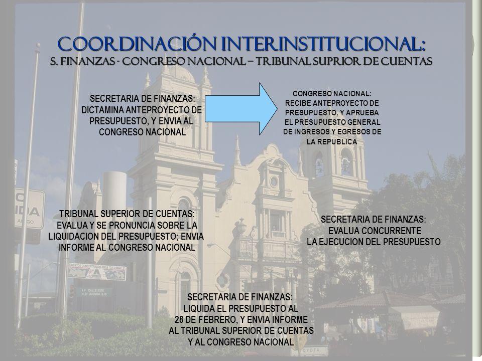 COORDINACIÓN INTERINSTITUCIONAL: S. FINANZAS - CONGRESO NACIONAL – TRIBUNAL SUPRIOR DE CUENTAS SECRETARIA DE FINANZAS: DICTAMINA ANTEPROYECTO DE PRESU