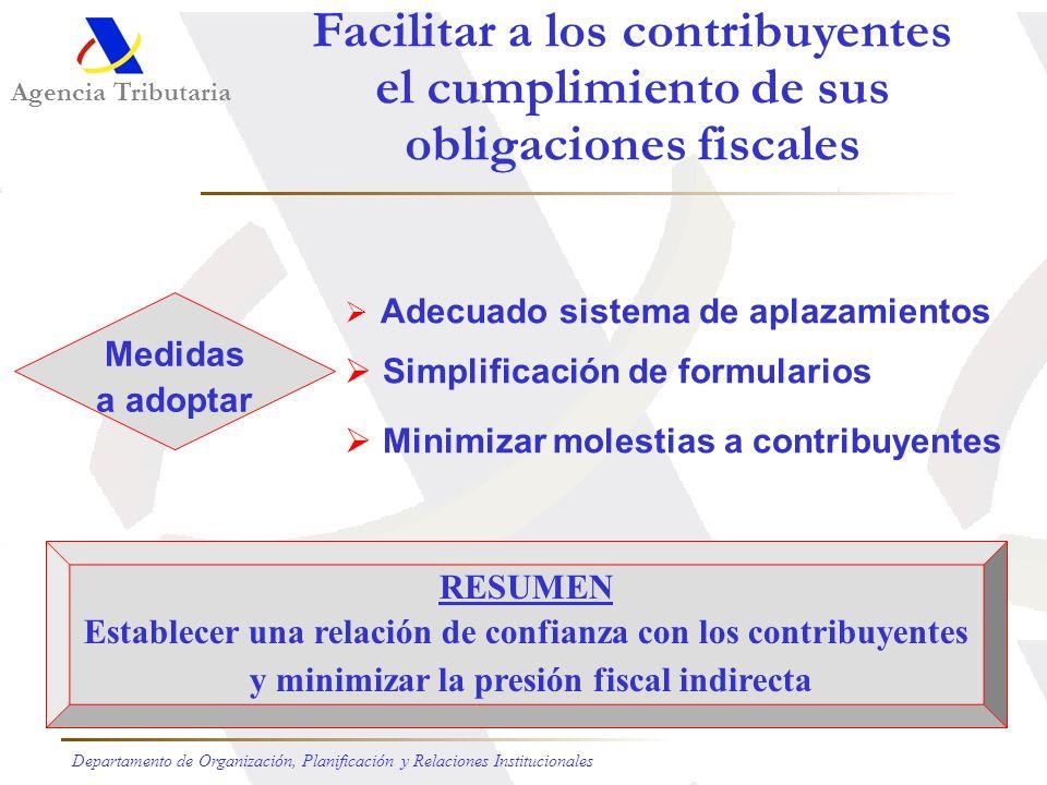 Facilitar a los contribuyentes el cumplimiento de sus obligaciones fiscales Servicios de información bien dotados Asistencia a los contribuyentes Agil
