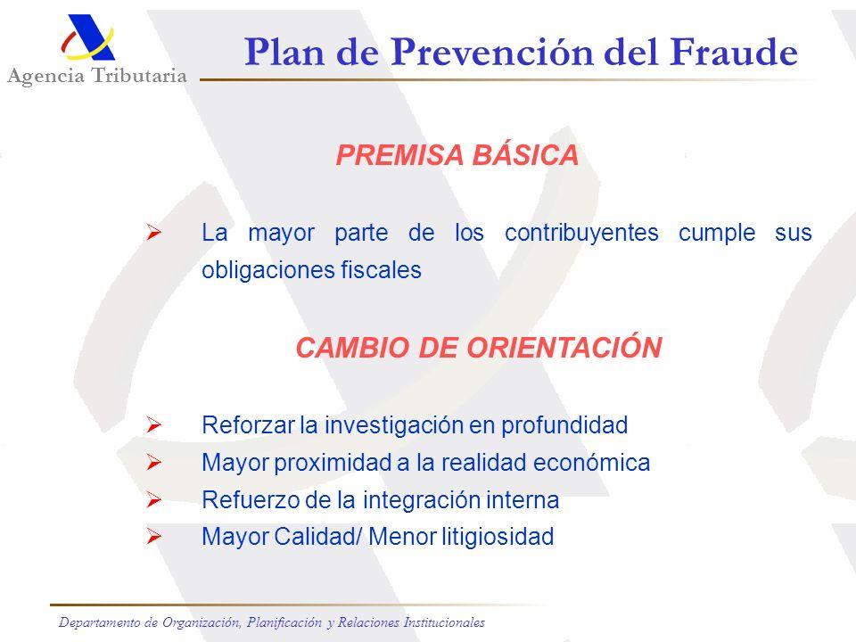 Agencia Tributaria Departamento de Organización, Planificación y Relaciones Institucionales Plan de Prevención del Fraude OBJETIVO Reequilibrar asiste