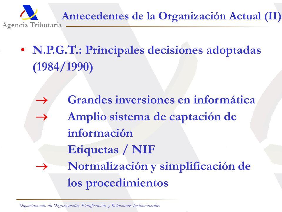 Agencia Tributaria Departamento de Organización, Planificación y Relaciones Institucionales Antecedentes de la Organización Actual (I) La Reforma fisc