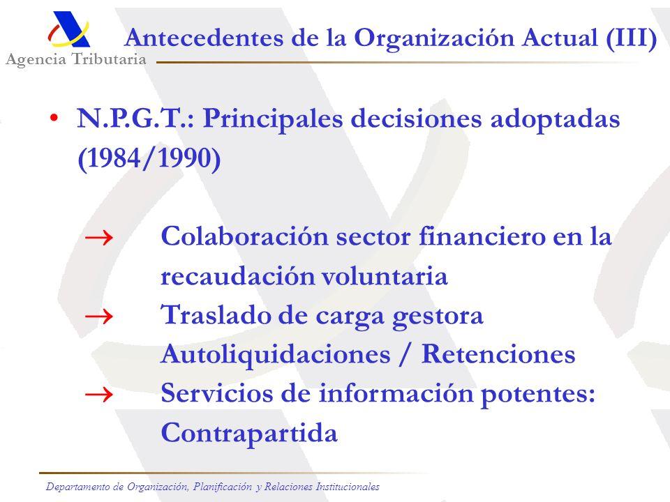 Presupuestos de Ingresos: Año 2005 (1) Transferencias estatales iniciales (88,51%) (2) Compensación por servicios prestados (1,22%) (3) Generación de crédito (7,49%) (4) Otros (2,78%) 88,51 % 7,49 % 2,78 % 1,22 % (3) (4) (2) (1) Recursos Disponibles Agencia Tributaria Departamento de Organización, Planificación y Relaciones Institucionales