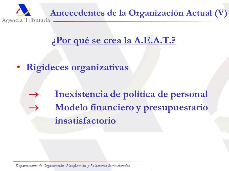 Agencia Tributaria Departamento de Organización, Planificación y Relaciones Institucionales Antecedentes de la Organización Actual (V) ¿Por qué se crea la A.E.A.T..