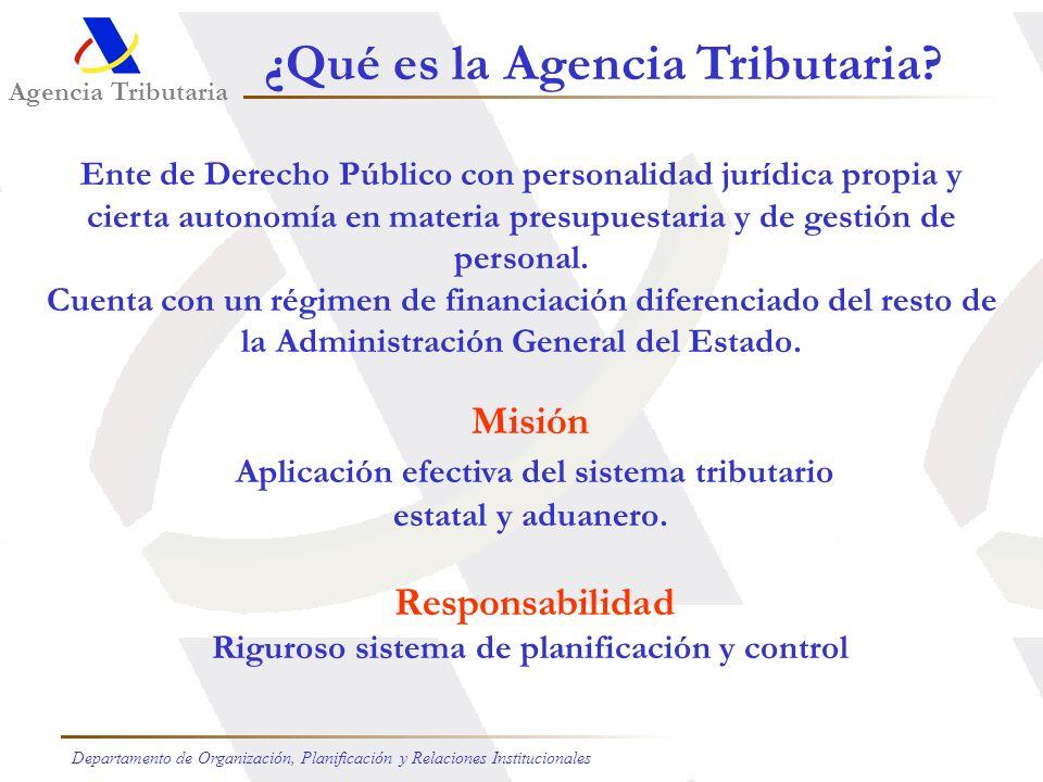 Agencia Tributaria Departamento de Organización, Planificación y Relaciones Institucionales Ente de Derecho Público con personalidad jurídica propia y cierta autonomía en materia presupuestaria y de gestión de personal.