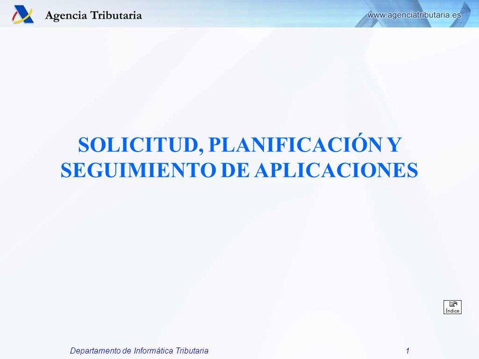 Departamento de Informática Tributaria1 SOLICITUD, PLANIFICACIÓN Y SEGUIMIENTO DE APLICACIONES
