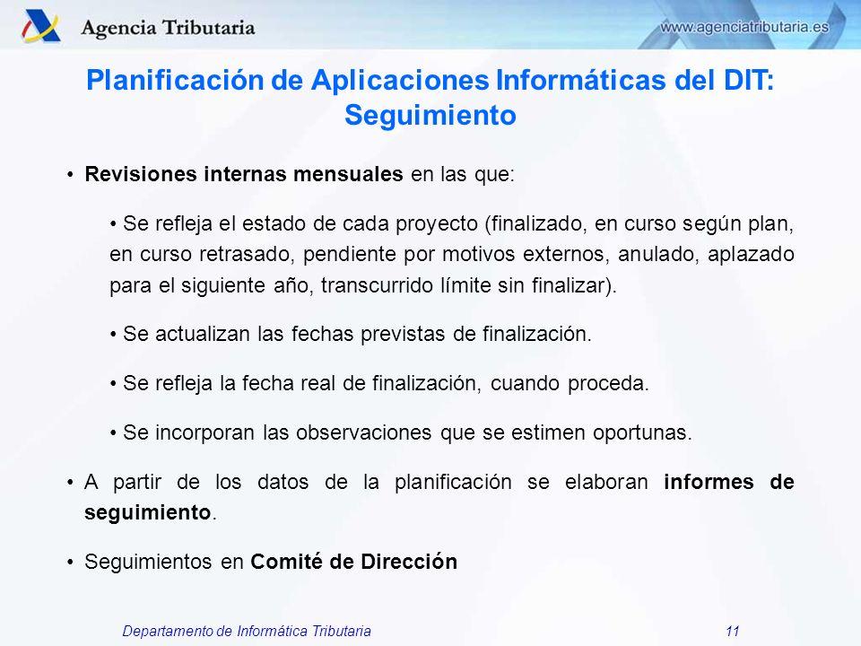 Departamento de Informática Tributaria11 Planificación de Aplicaciones Informáticas del DIT: Seguimiento Revisiones internas mensuales en las que: Se