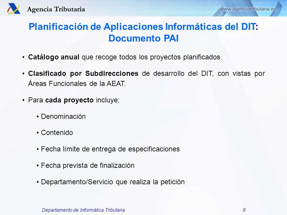 Departamento de Informática Tributaria9 Planificación de Aplicaciones Informáticas del DIT: Documento PAI Catálogo anual que recoge todos los proyecto