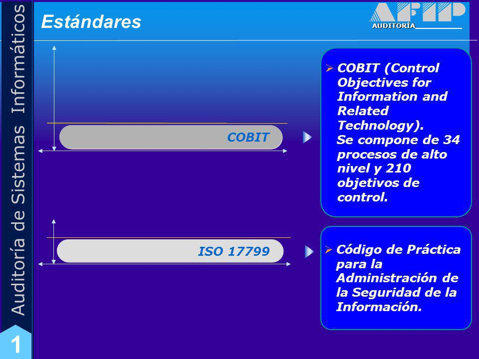 AUDITORÍA Auditoría de Sistemas Informáticos 1 ISO 17799 COBIT ISO 17799 COBIT (Control Objectives for Information and Related Technology). Se compone