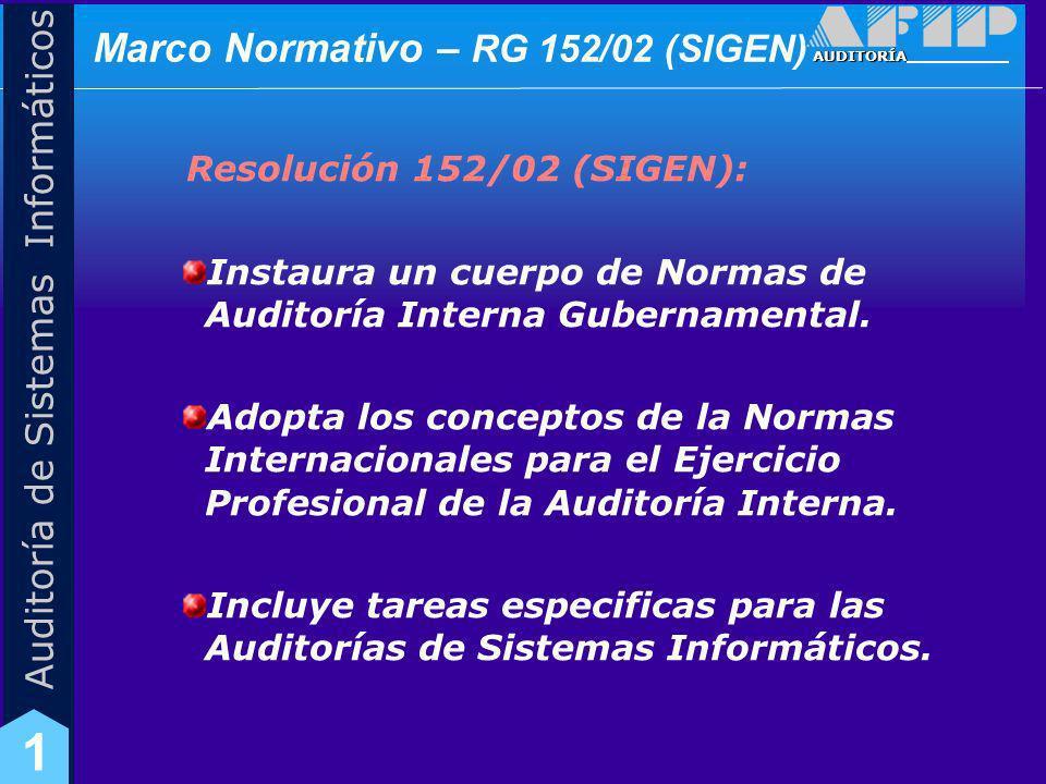 AUDITORÍA Auditoría de Sistemas Informáticos 1 Marco Normativo – RG 152/02 (SIGEN) Objetivos de Control Interno para TI Ciclo de vida para el desarrollo y mantenimiento de software.