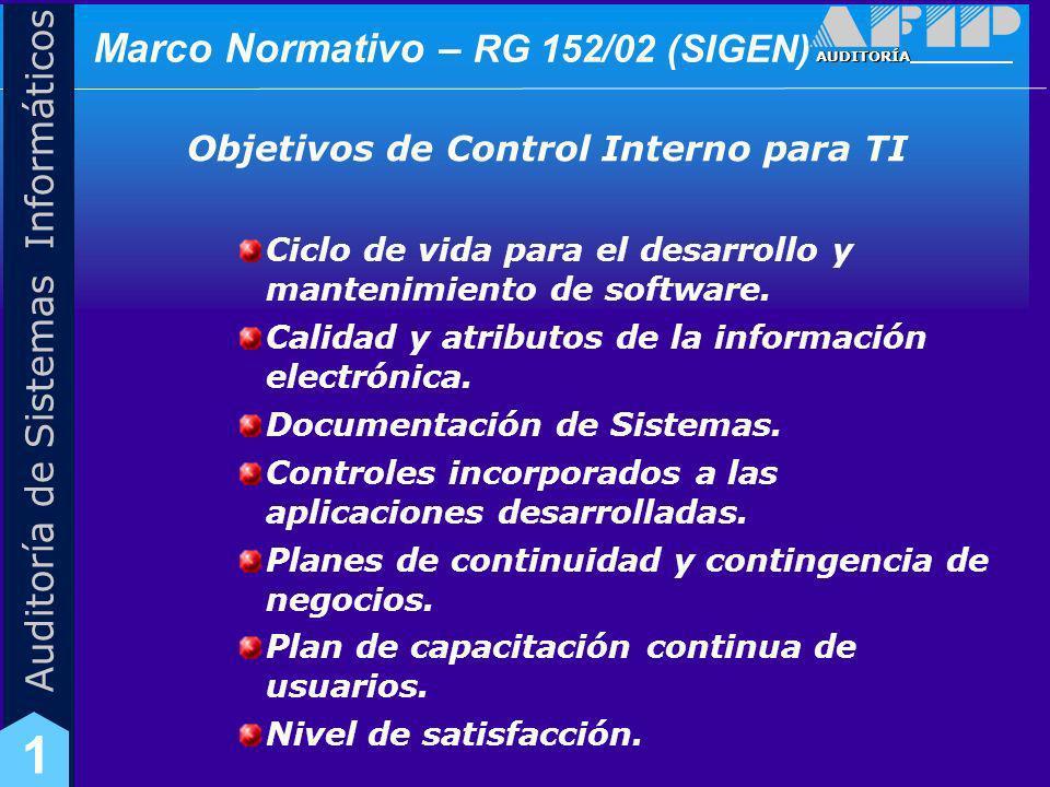 AUDITORÍA Auditoría de Sistemas Informáticos 1 Marco Normativo – RG 48/05 (SIGEN) Resolución 48/05 (SIGEN): NORMAS DE CONTROL INTERNO PARA TECNOLOGÍA DE LA INFORMACIÓN DEL SECTOR PÚBLICO NACIONAL.