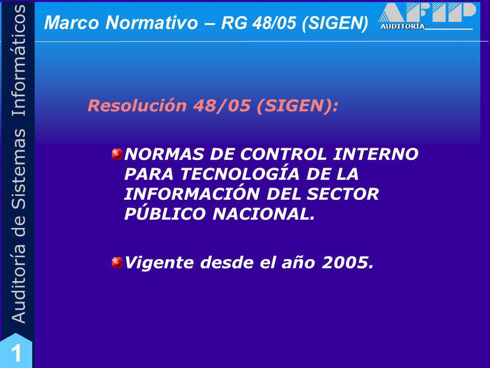 AUDITORÍA Auditoría de Sistemas Informáticos 1 Marco Normativo – RG 48/05 (SIGEN) Destinatarios: Responsables de los organismos.