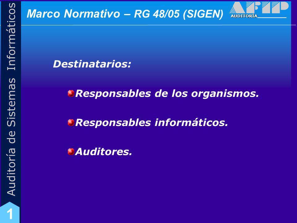 AUDITORÍA Auditoría de Sistemas Informáticos 1 Marco Normativo – RG 48/05 (SIGEN) Objetivos de Control Interno: Se i ncluyen pautas sobre aspectos especificos de TI Organización Informática.