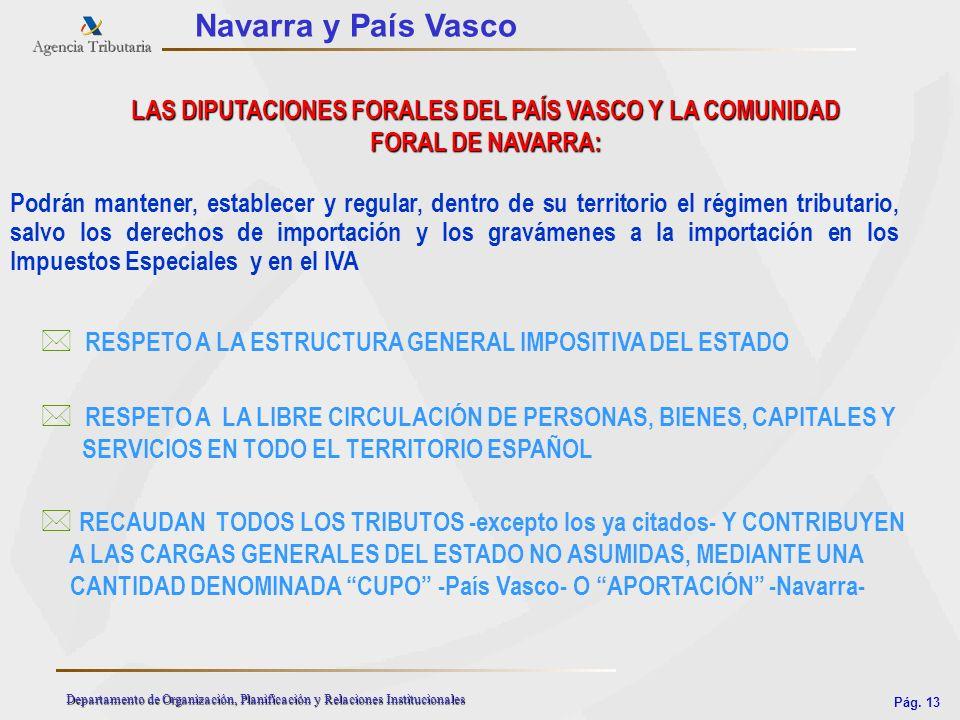Pág. 13 Departamento de Organización, Planificación y Relaciones Institucionales Navarra y País Vasco LAS DIPUTACIONES FORALES DEL PAÍS VASCO Y LA COM