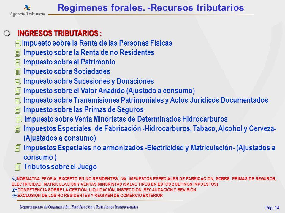 Pág. 14 Departamento de Organización, Planificación y Relaciones Institucionales Regímenes forales. -Recursos tributarios m INGRESOS TRIBUTARIOS : 4 I