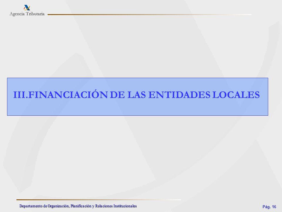 Pág. 16 Departamento de Organización, Planificación y Relaciones Institucionales III.FINANCIACIÓN DE LAS ENTIDADES LOCALES