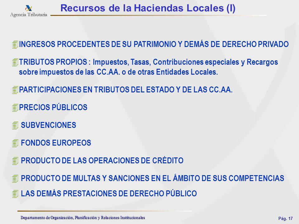 Pág. 17 Departamento de Organización, Planificación y Relaciones Institucionales Recursos de la Haciendas Locales (I) 4 TRIBUTOS PROPIOS : Impuestos,
